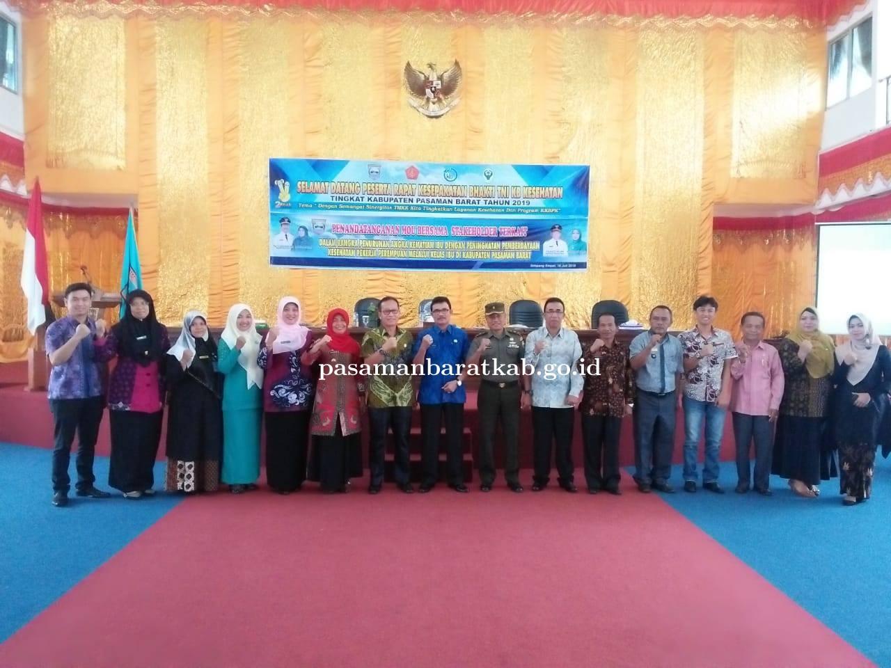 Pemerintah Daerah Kabupaten Pasaman Barat Mengadakan Rapat Kesepakatan Bhakti TNI KB Kesehatan.