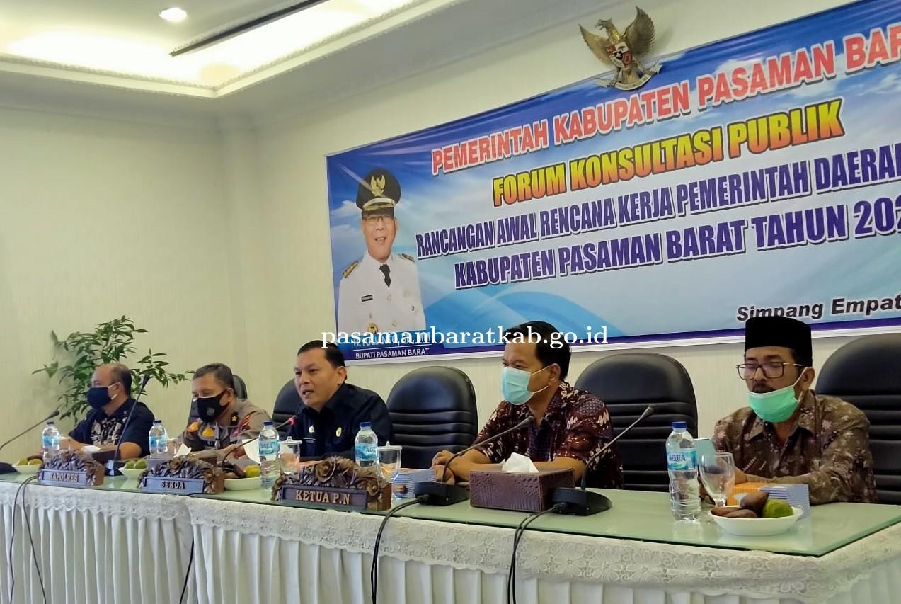 Buka Forum Konsultasi Publik RKPD Tahun 2022 Sekda Pasbar Harapkan Masukan Stakeholder Terkait