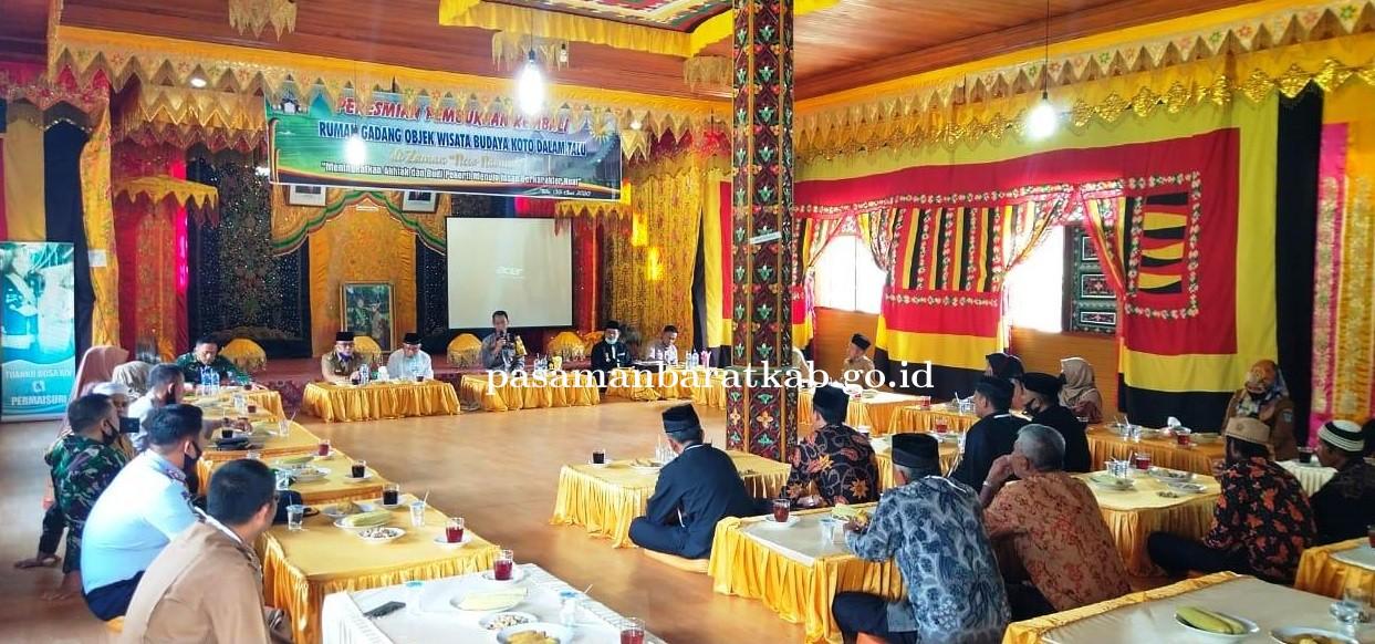 Rumah Gadang Objek Budaya Koto Dalam Talu Mulai di Buka Forkopimda Pasbar Datang Berkunjung